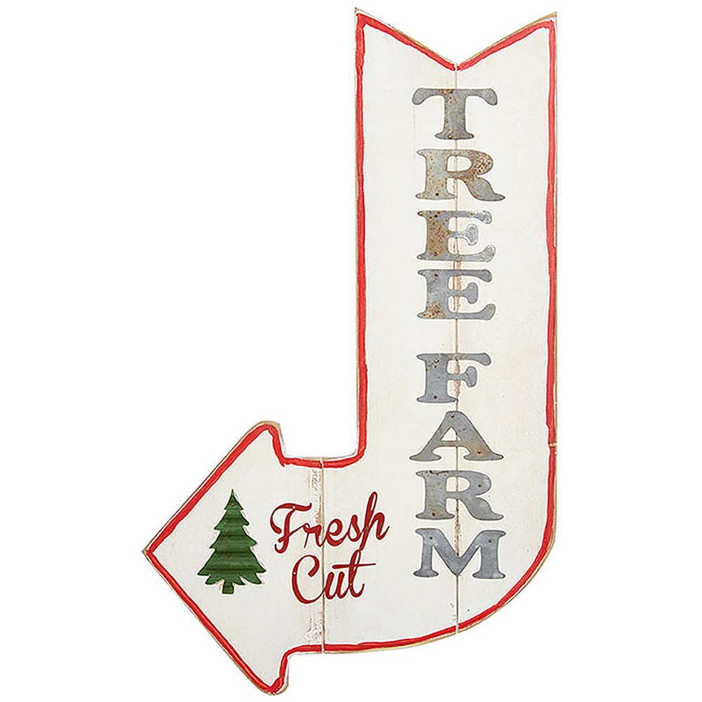 "Raz 24"" Tree Farm Wooden Christmas Sign 3811232"