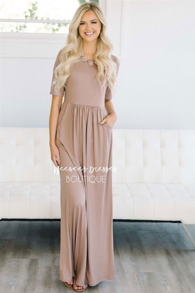 90f107347742 Solid Taupe Fall Modest Maxi Dress | Beautiful Modest Bridesmaids Dresses  with Sleeves | Modest Dresses and Skirt for Church
