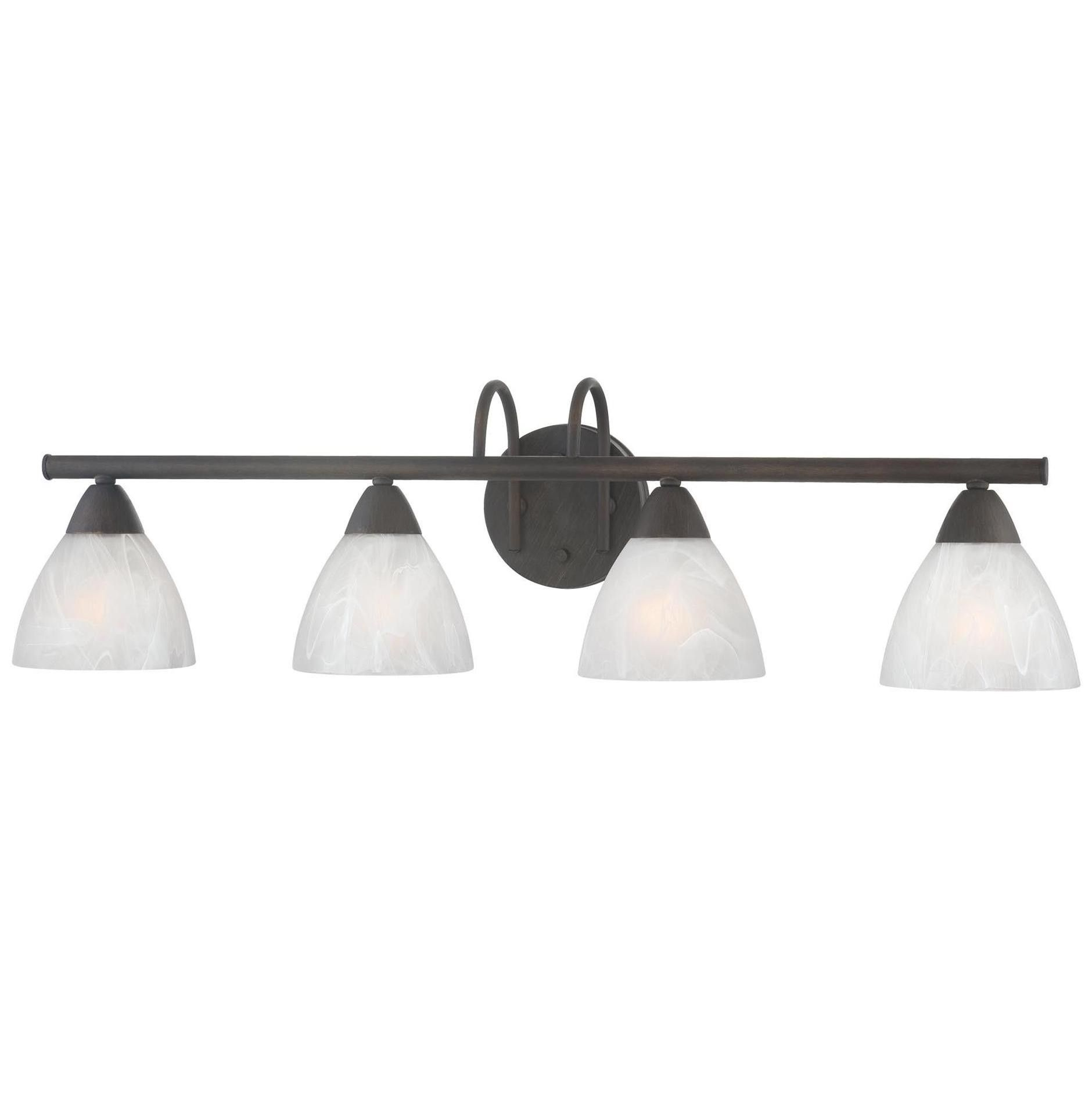 The Thomas Lighting 190018763 Tia 4-Light Bathroom Fixture provides a simple, yet elegant design that pairs well with any bathroom. This 4-light bath fixture in an Oil Rubbed Bronze finish  and decorative etched glass adds a traditional decor to your bath. Perfect for hallways, bedrooms, bathrooms and stairways. Includes all mounting hardware and Lifetime Limitied Warranty.