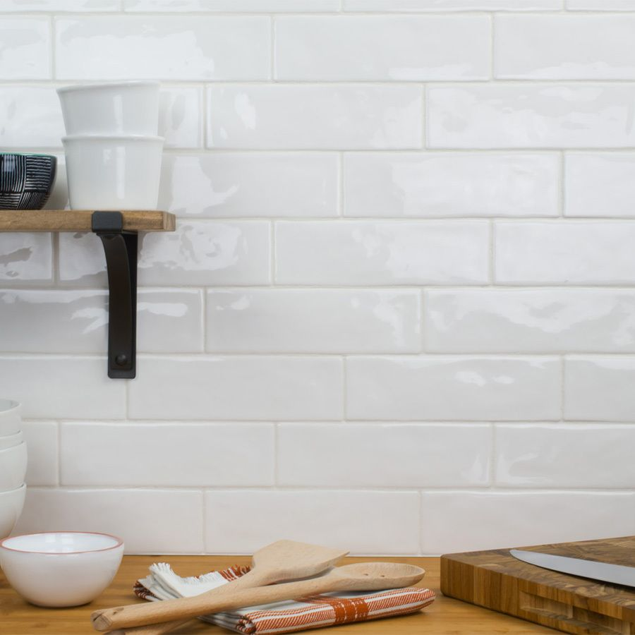White Backsplash Tiles: Elida Ceramica Hand Crafted White Subway Tile