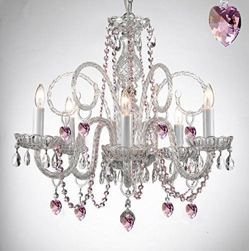 Empress Crystal Tm Chandelier Lighting With Pink Color Crystal - Chandelier crystals pink