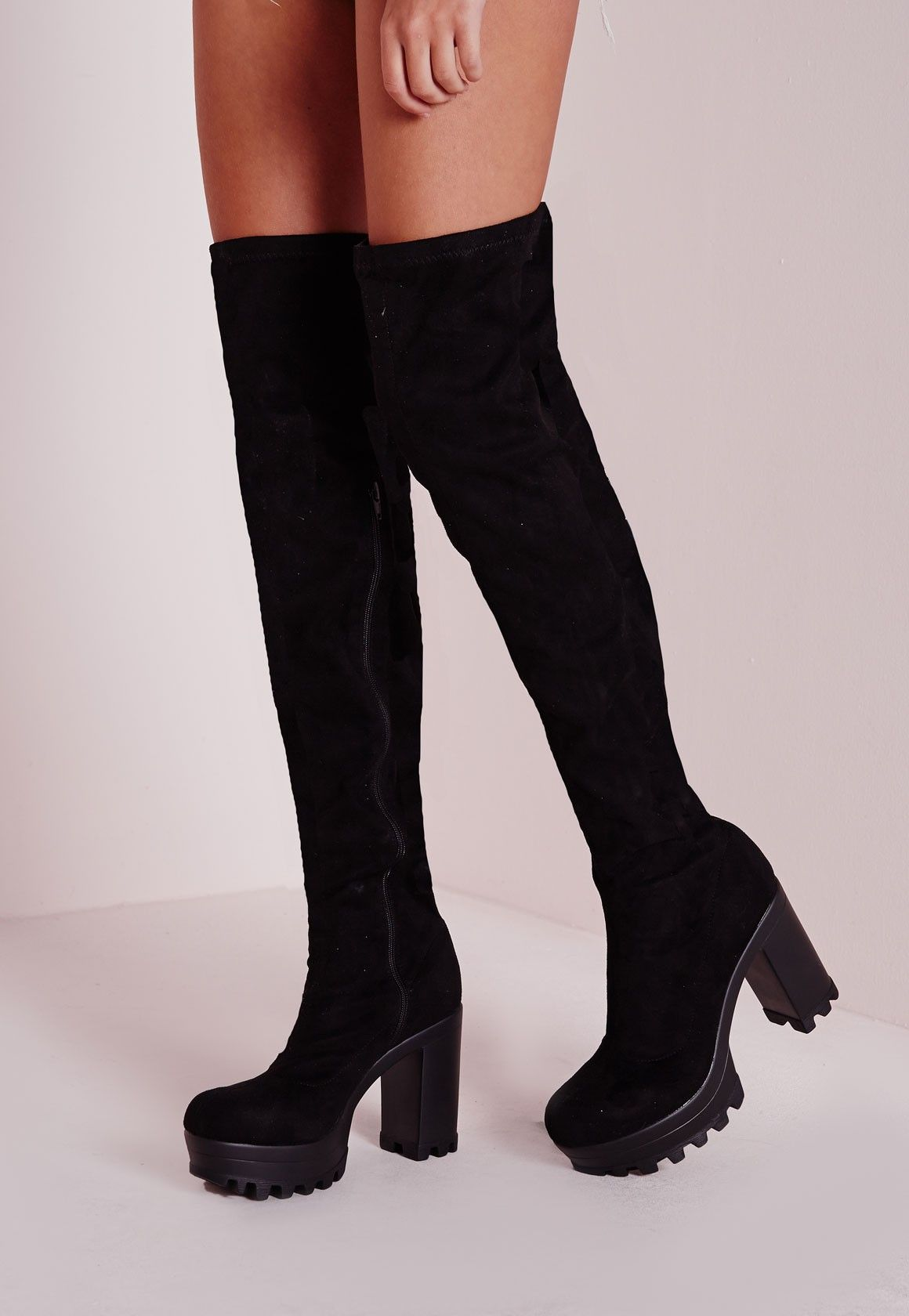 Missguided - Over The Knee Cleated Heeled Boots | September ...