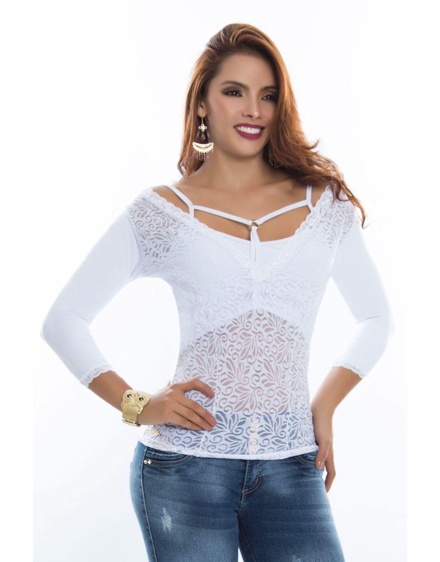 Blusa BL-4053-BL Blusa moderna tono blanco de encaje 98f5ba9496c