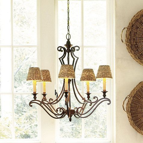 Chandelier And Burlap Drum Shade For Den Diy Chandelier