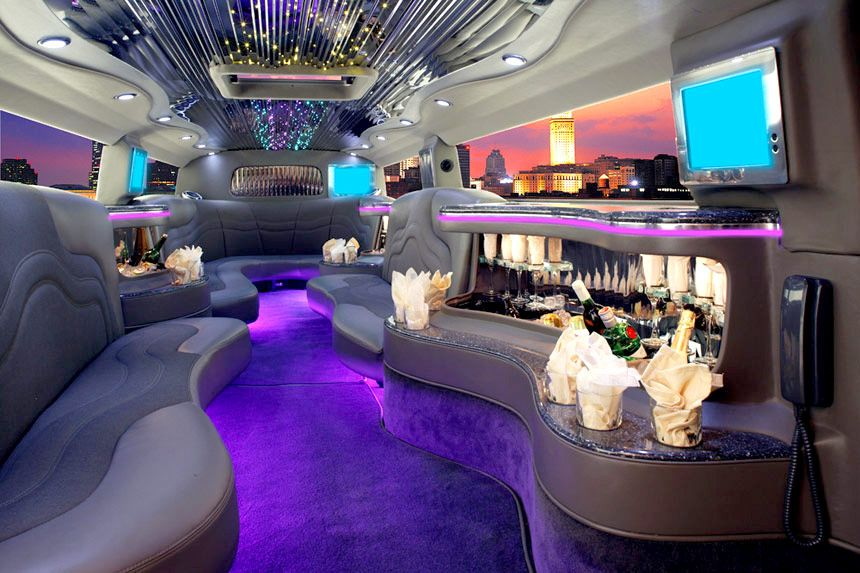 Interior Of The Blue Zebra Hummer Limo Ridin Dirty