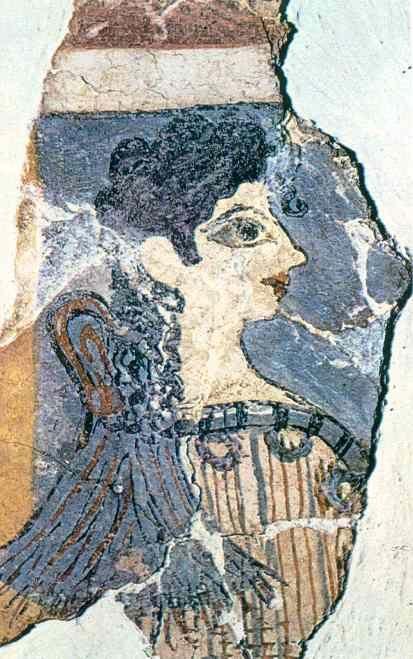 """***Fresco con la figura conocida como """"La Parisina"""", Palacio de Cnosos."""