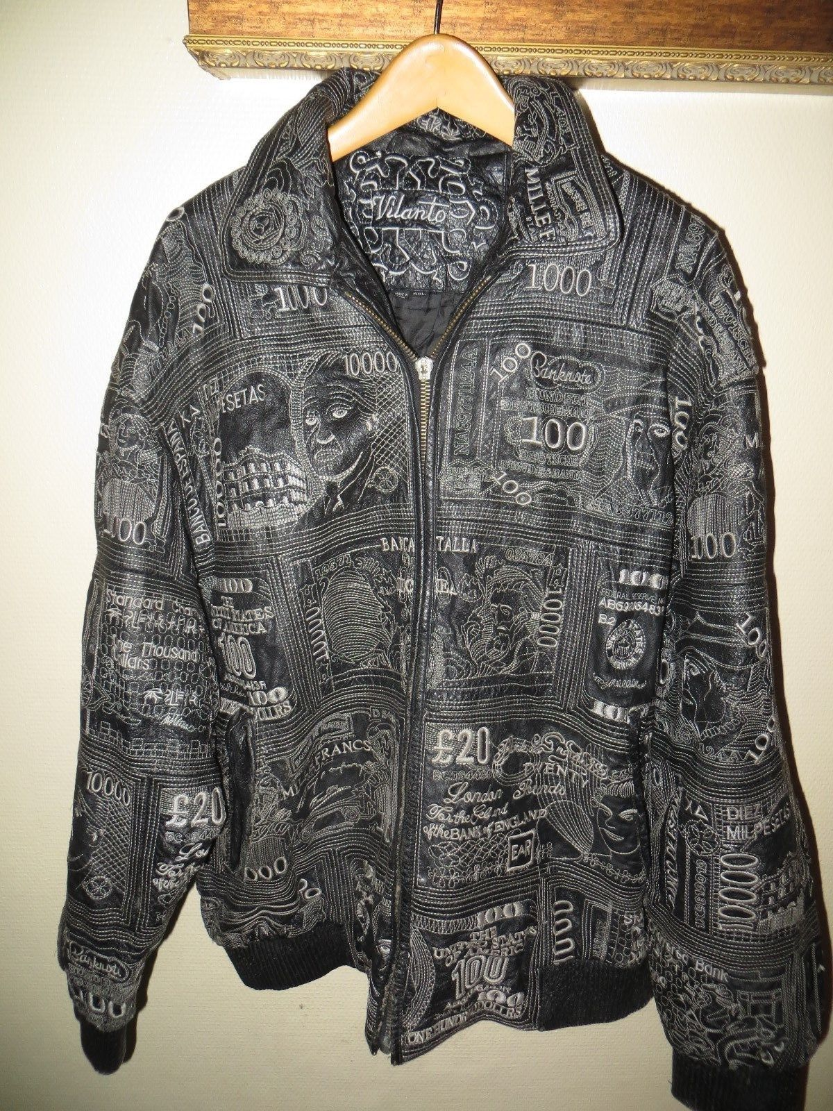 Rare Money Vilanto Men Black Embroidered Leather Flight Bomber Hip Hop Jacket 4x Flight Bomber Jacket Leather E Hip Hop Jacket Embroidered Leather Jackets [ 1600 x 1200 Pixel ]