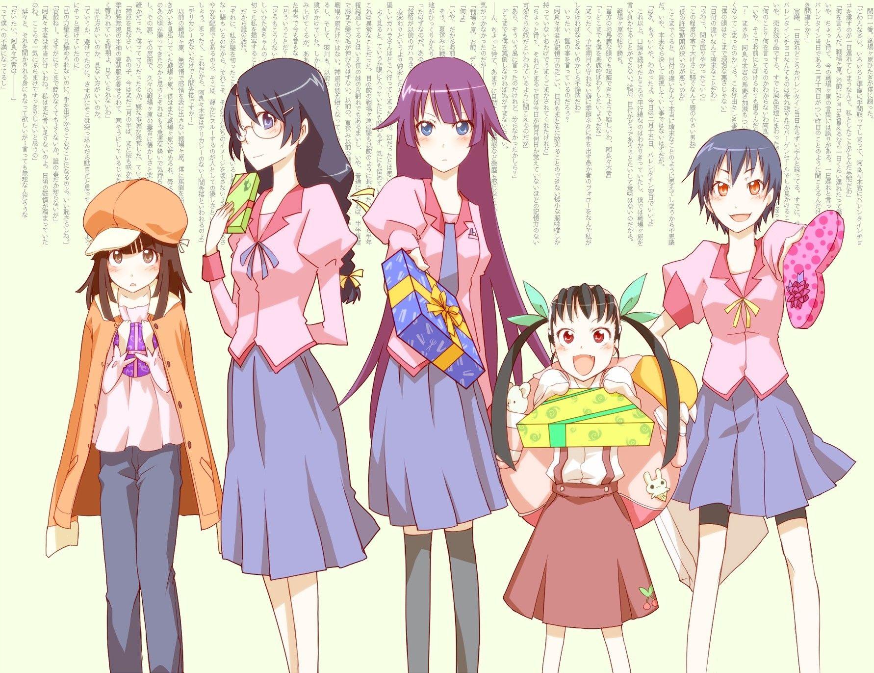 Bakemonogatari Hachikuji Mayoi Hanekawa Tsubasa Kanbaru Suruga Sengoku Nadeko Hanekawa Tsubasa Beautiful Pictures Anime