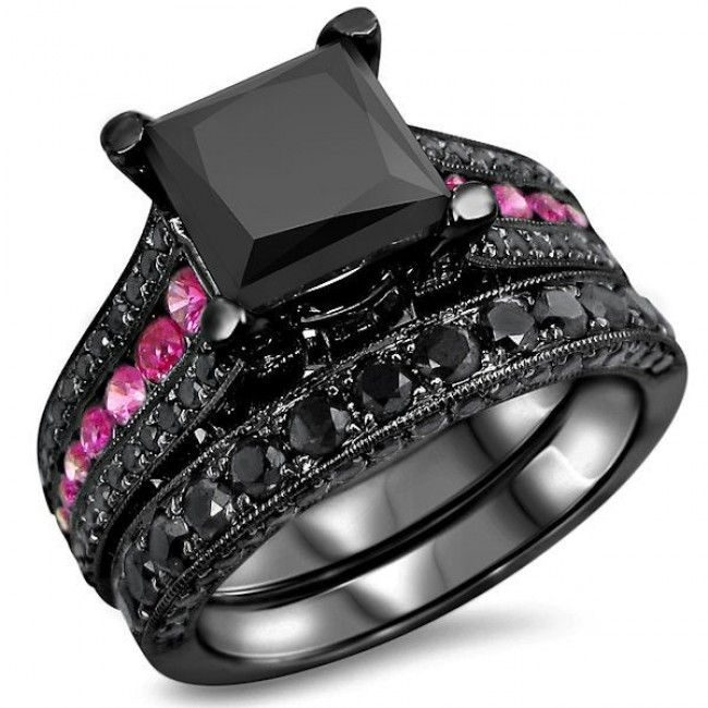 gorgeous princess cut black diamond bridal wedding ring set in black gold plated silver evolees - Black And Pink Wedding Ring Sets
