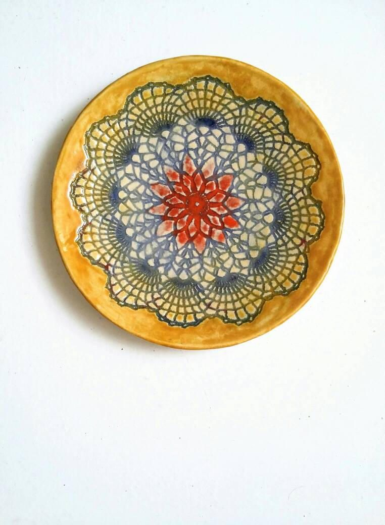 mandala art, ceramic plate, home decor, unique gift, lace pottery ...