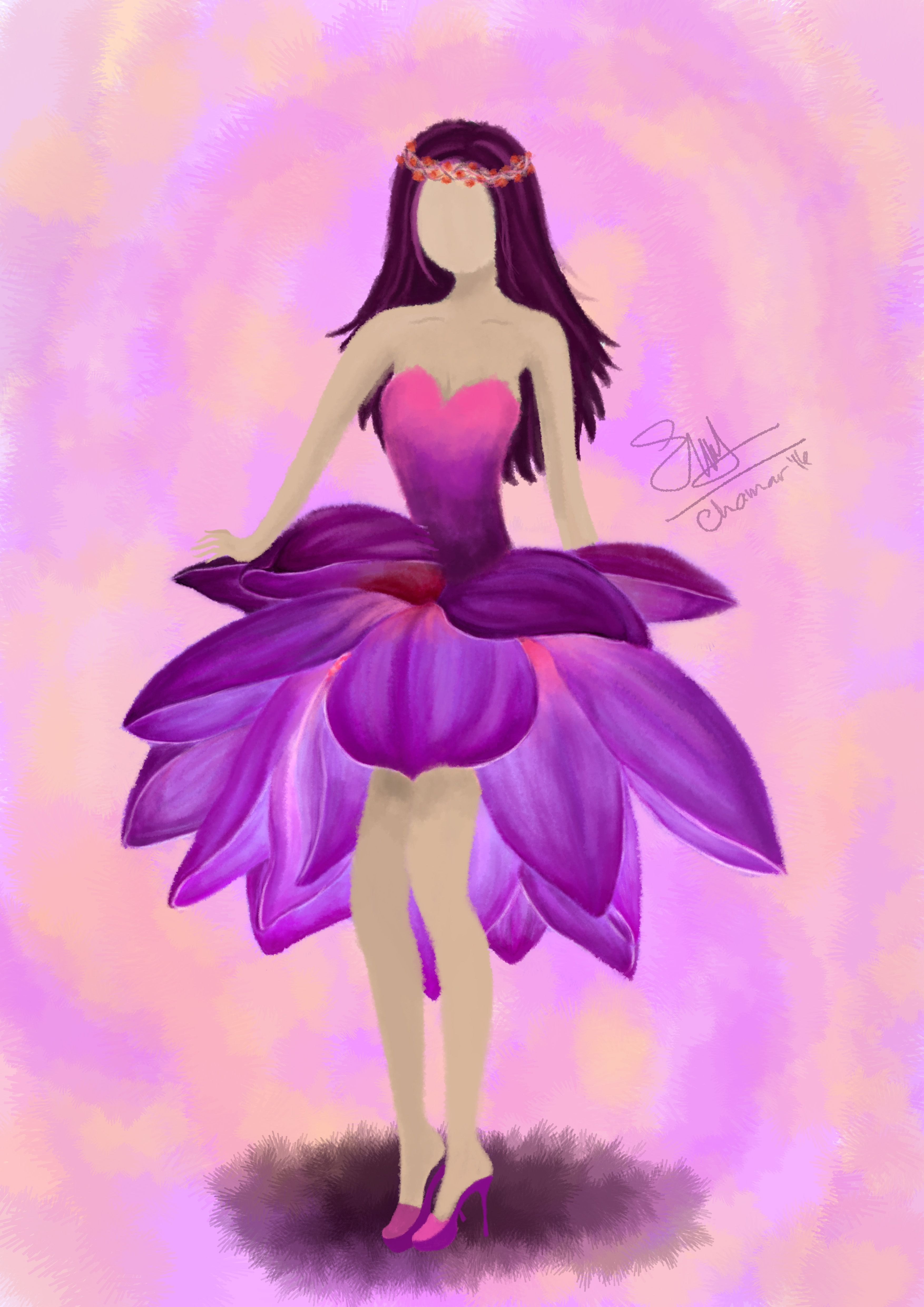 Digital Brush Painting With Photoshop Its A Lotus Dress Digital
