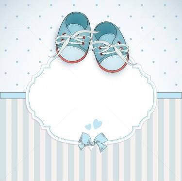 photo about baby boy shower card arrival card with place for your text