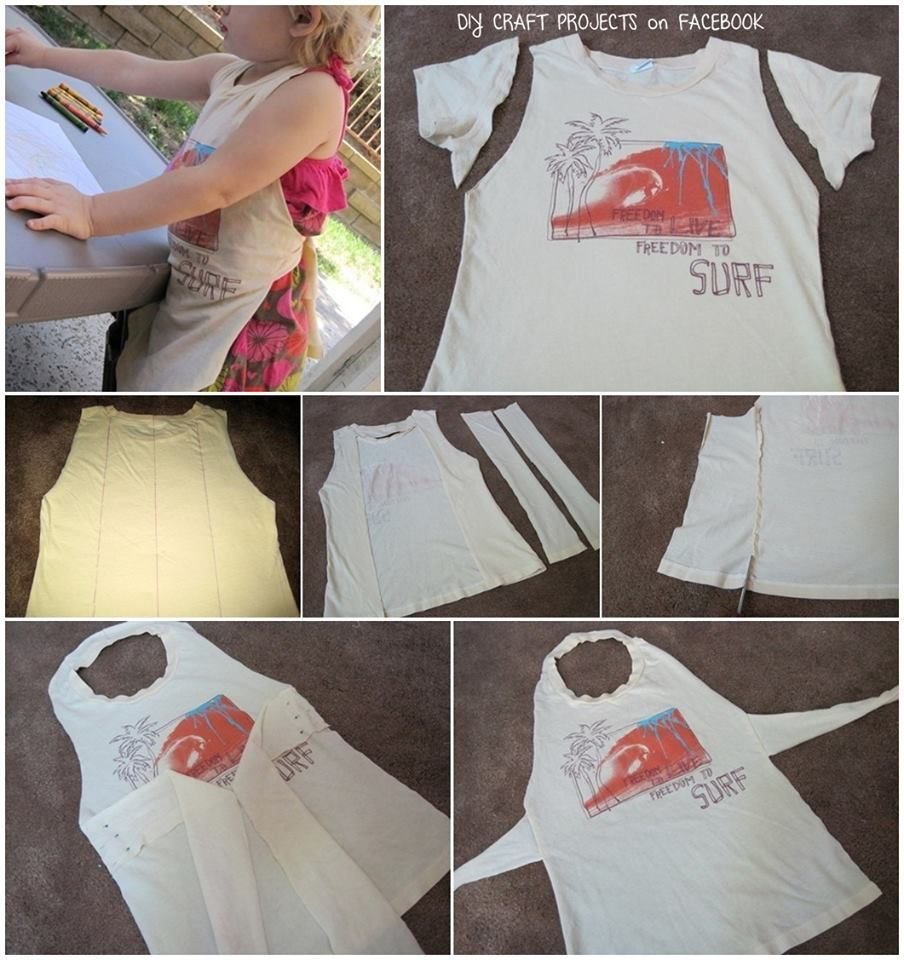 Child's Apron from kids t-shirt   DIY Craft Projects