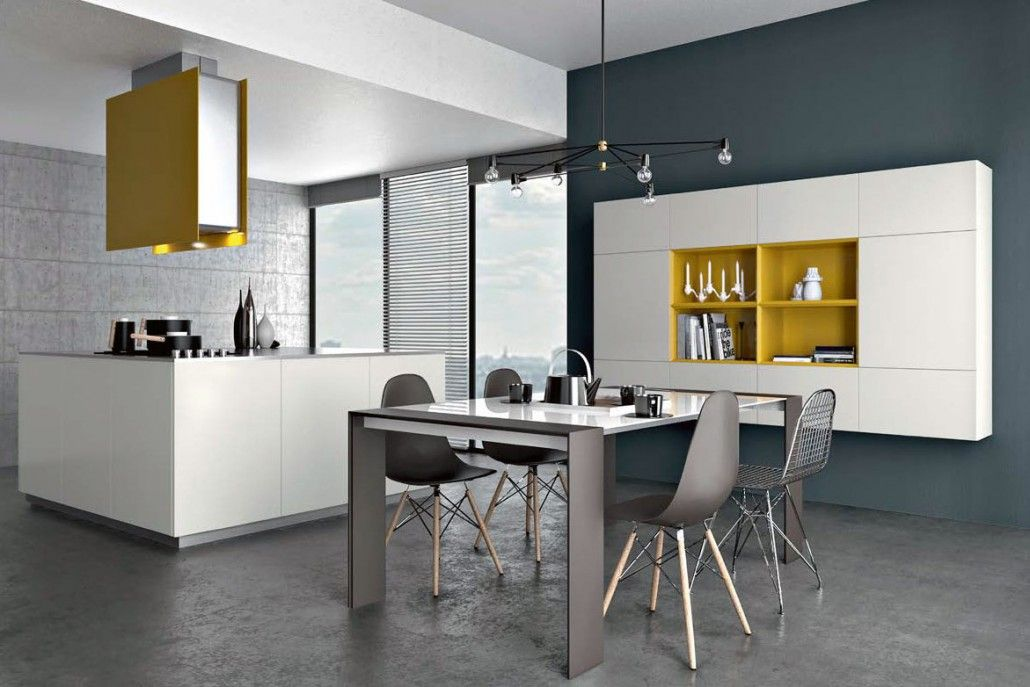 cuisines armony mod le yota plan de travail en inox laque blanche et jaune m me au. Black Bedroom Furniture Sets. Home Design Ideas