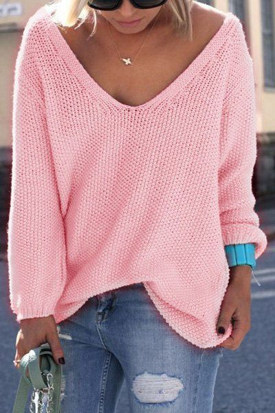 Simple V Neck Long Sleeves Pure Color Loose-Fitting Sweater For ...
