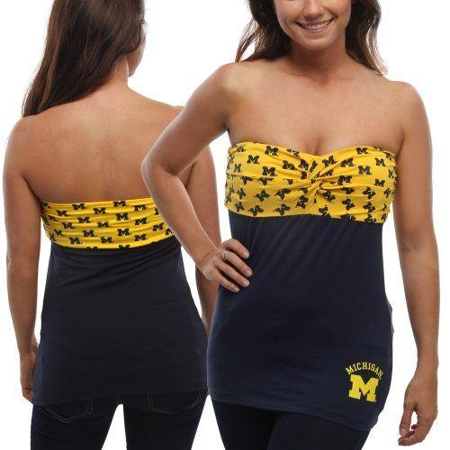 bf714d9b2d Michigan Wolverines Women s Flirty Repeat Tube Top - Navy Blue Maize