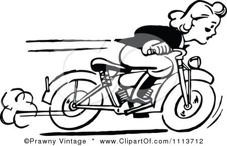 Retro Black And White Woman Racing A Motorcycle Posters Art