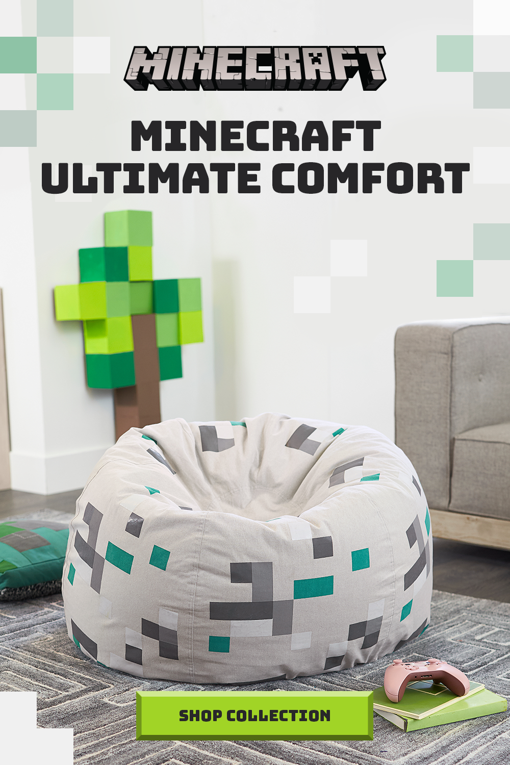 Craft A Cozy Base With This Minecraft Inspired Beanbag And Explore Other Minecraft Bedroom Minecraft Room Decor Minecraft Bedroom Decor Boys Minecraft Bedroom