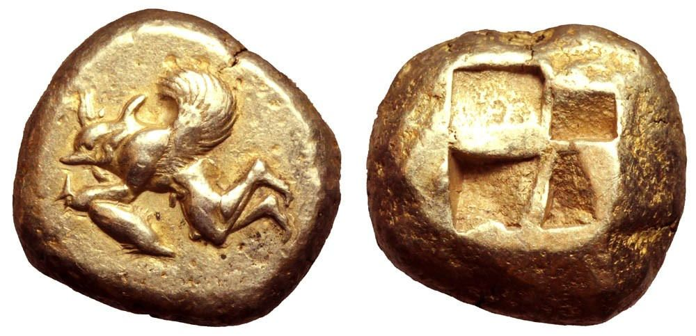 Mysia, Kyzikos EL Stater. Circa 550-450 BC. Winged figure to right, consisting…