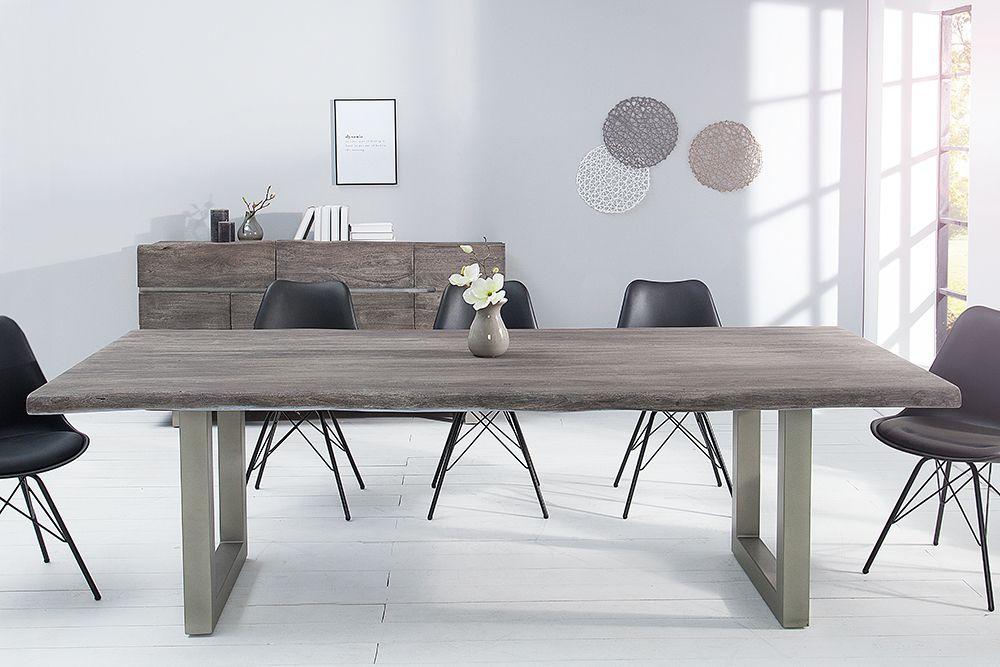 Massiver Baumstamm Tisch MAMMUT 200cm Grau Akazie Massivholz Industrial  Chic Kufengestell Mit 6cm Dicker Tischplatte