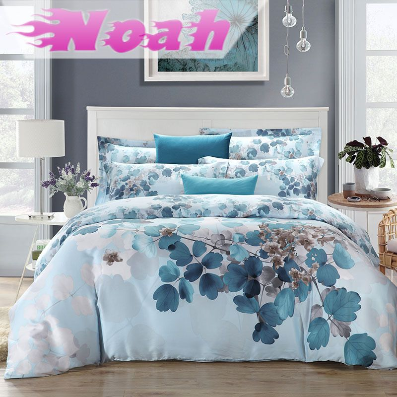 100 Tencel Girls Flowers 4pcs Soft Watercolor Bedding Set Luxury