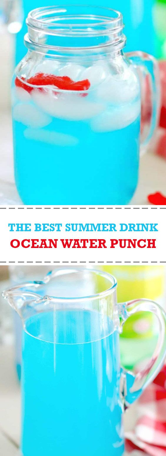 The Best Summer Drinks Ocean Water Punch This Ocean Water Punch Only Has A Couple Of Ingredients But Is Per In 2020 Fun Summer Drinks Summer Drinks Ocean Water Drink
