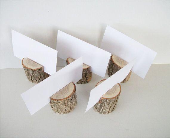 5 Sassafras Natural Wood Place Card Holder Rustic Wedding Table Decor Number Business Holders