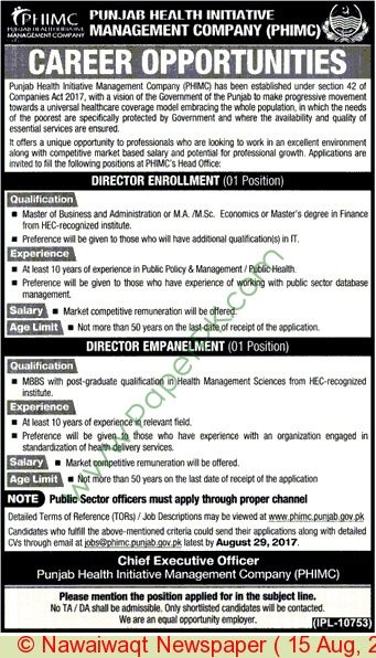 Punjab Health Initiative Management Company Lahore Jobs Jobs In