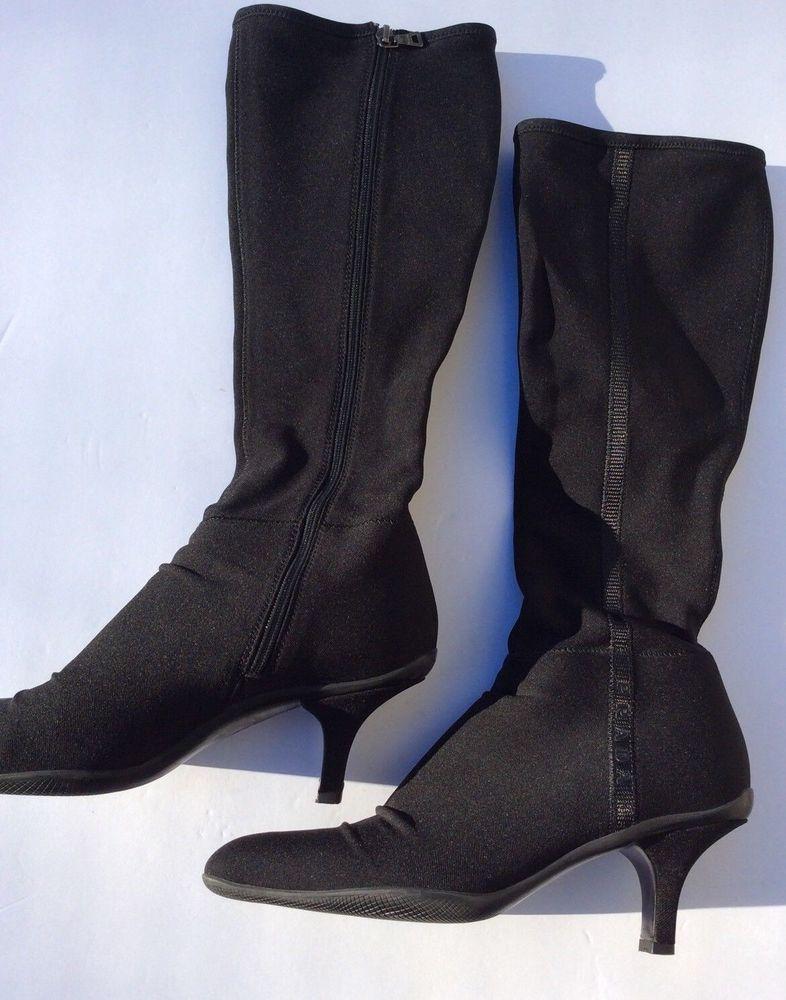 Prada Womens Tall Black Boots Size 5 5 Knee High 2 5 Heel Boots Kitten Heel Euc Fashion Clothing Shoes Acce Boots Womens Tall Black Boots Black Boots Tall