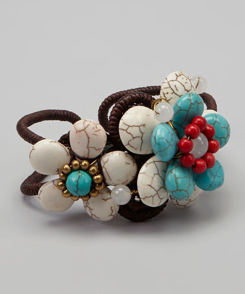 Turquoise & White Flower Cluster Cuff | zulily