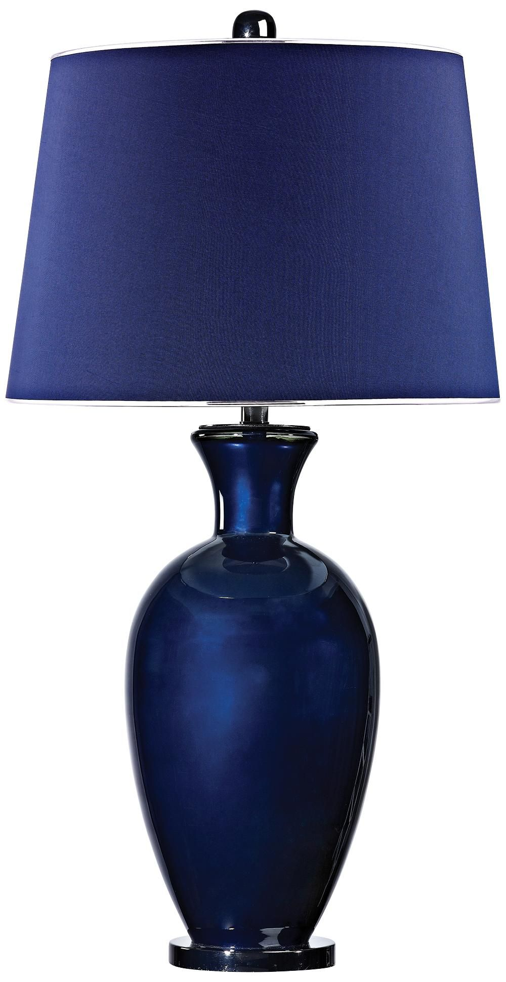 Dimond Helensburugh Navy Glass Table Lamp Basement Bedroom 1