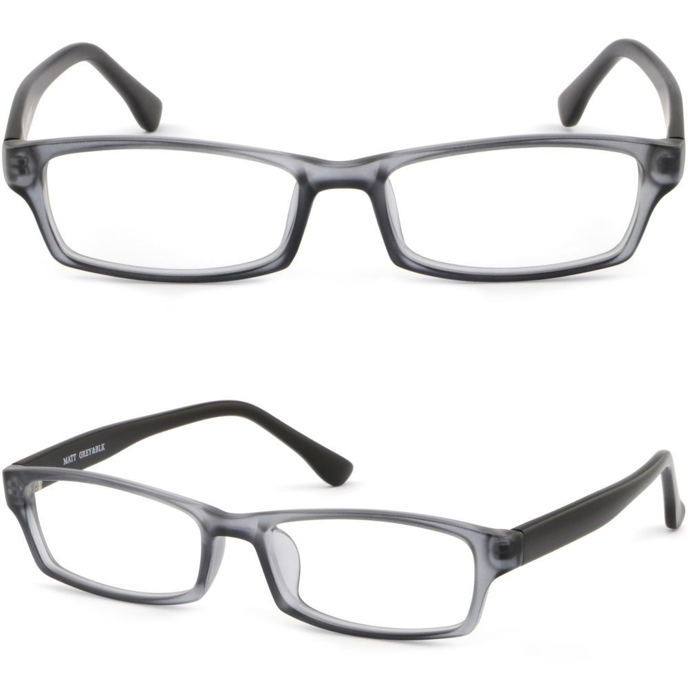 68b9c2e8ea Light Rectangular Men Women Plastic Frames Prescription Glasses Matte Gray  Black  Unbranded
