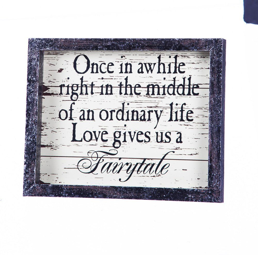 Cypress Home Wedding Day Décor Love Gives Us a Fairytale Wooden Plaque - 10 x 1 x 8 Inches