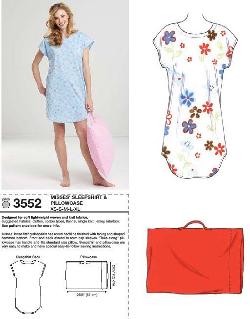 Kwik Sew 3552 Sleep Shirt and Pillowcase | costure | Pinterest ...