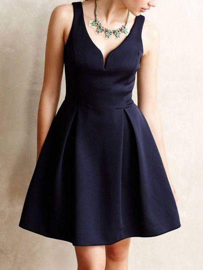 Navy Sleeveless Sweetheart Flare Dress Shein Sheinside Elegant Mini Dress Vintage Mini Dresses Fashion Dresses