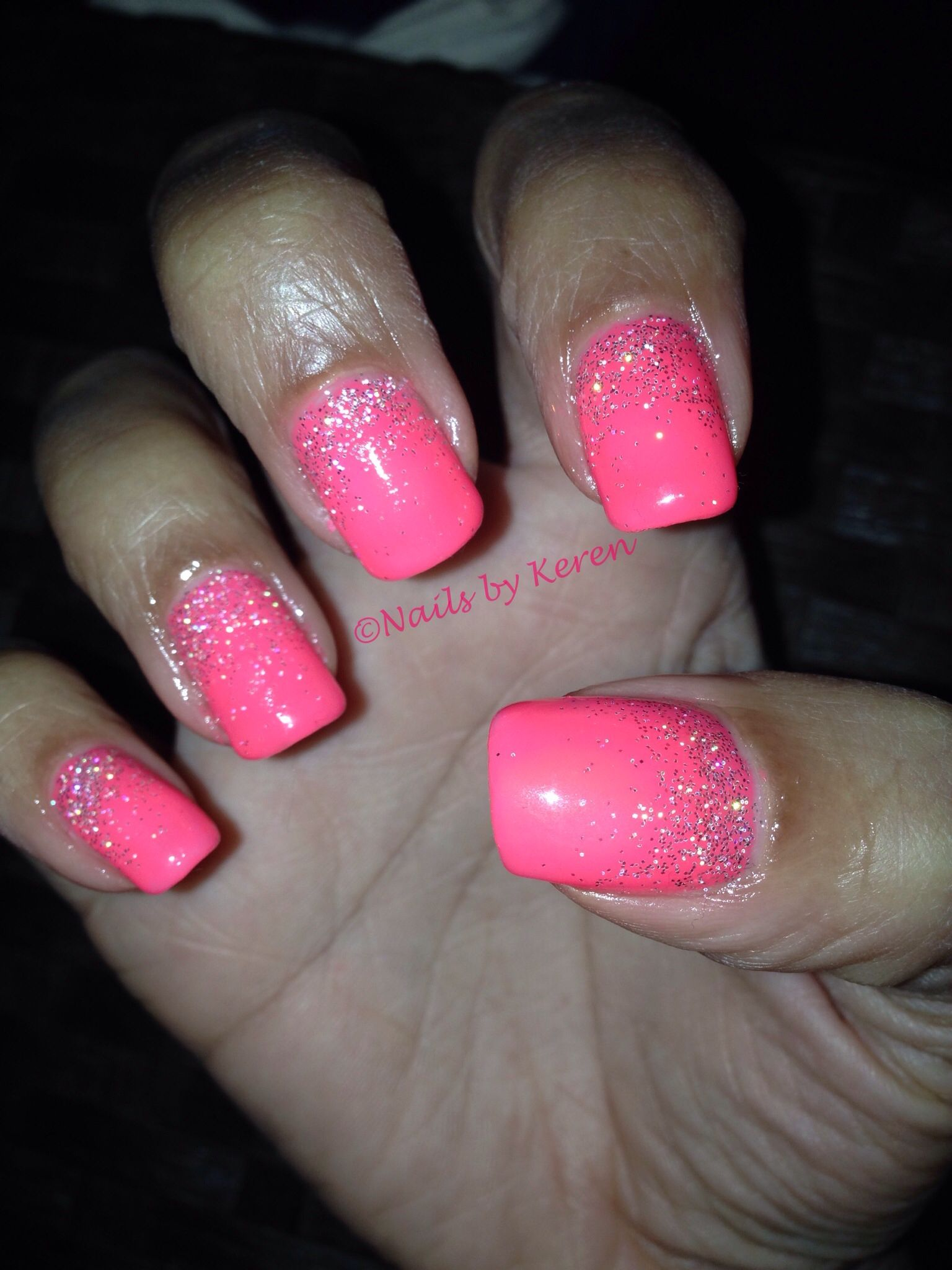 Neon pink gel polish and glitterfade. Nails 2014 | Nails | Pinterest ...