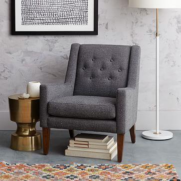 Library Upholstered Chair, Tweed, Salt  Pepper Pinterest Lounge
