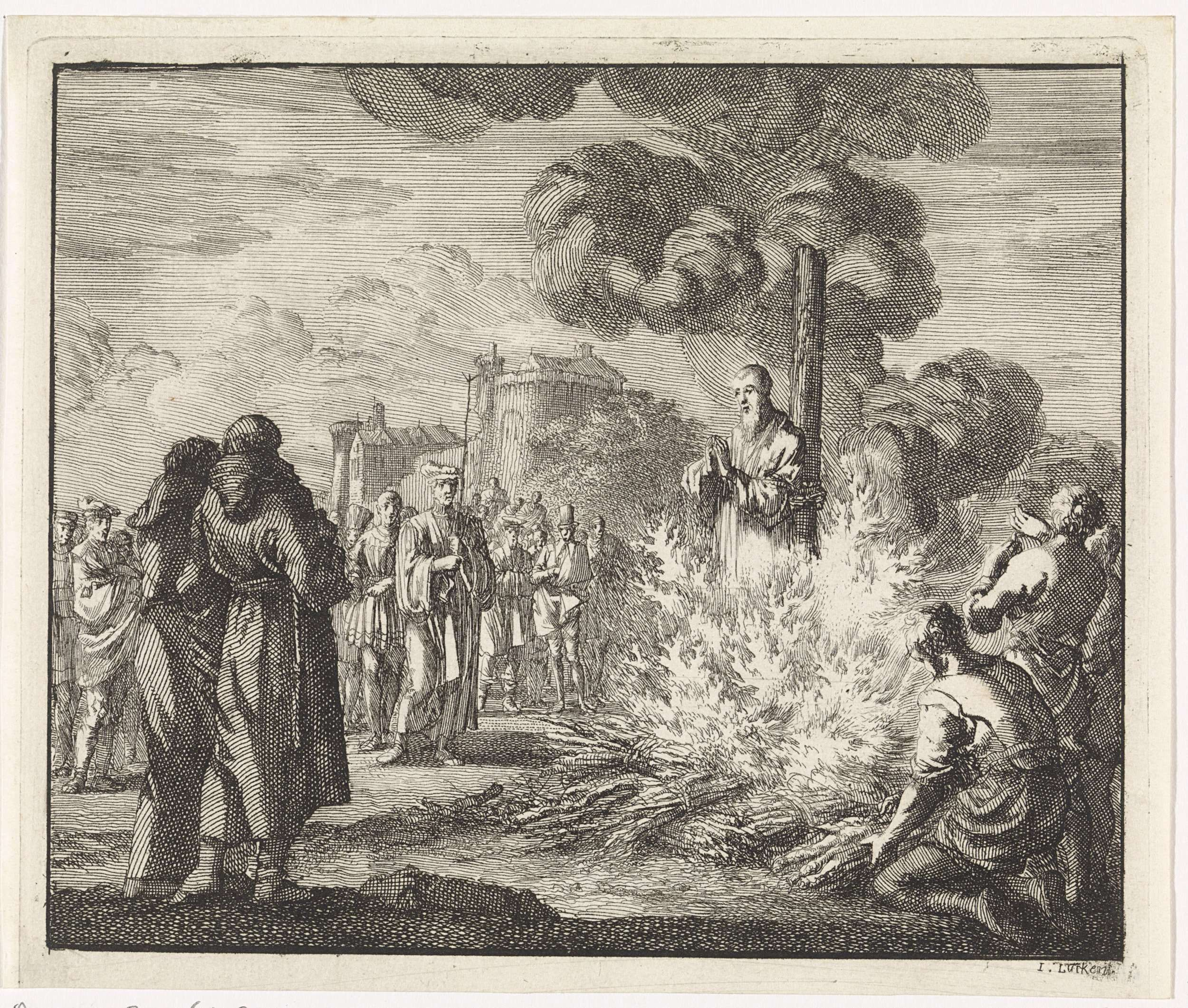 Jan Luyken   Arnoldus, bisschop van Brix, wordt op de brandstapel verbrand, Jan Luyken, 1701   Arnoldus, bisschop van Brix, wordt op de brandstapel verbrand vanwege ketterij. Links op de voorgrond twee toekijkende monniken.