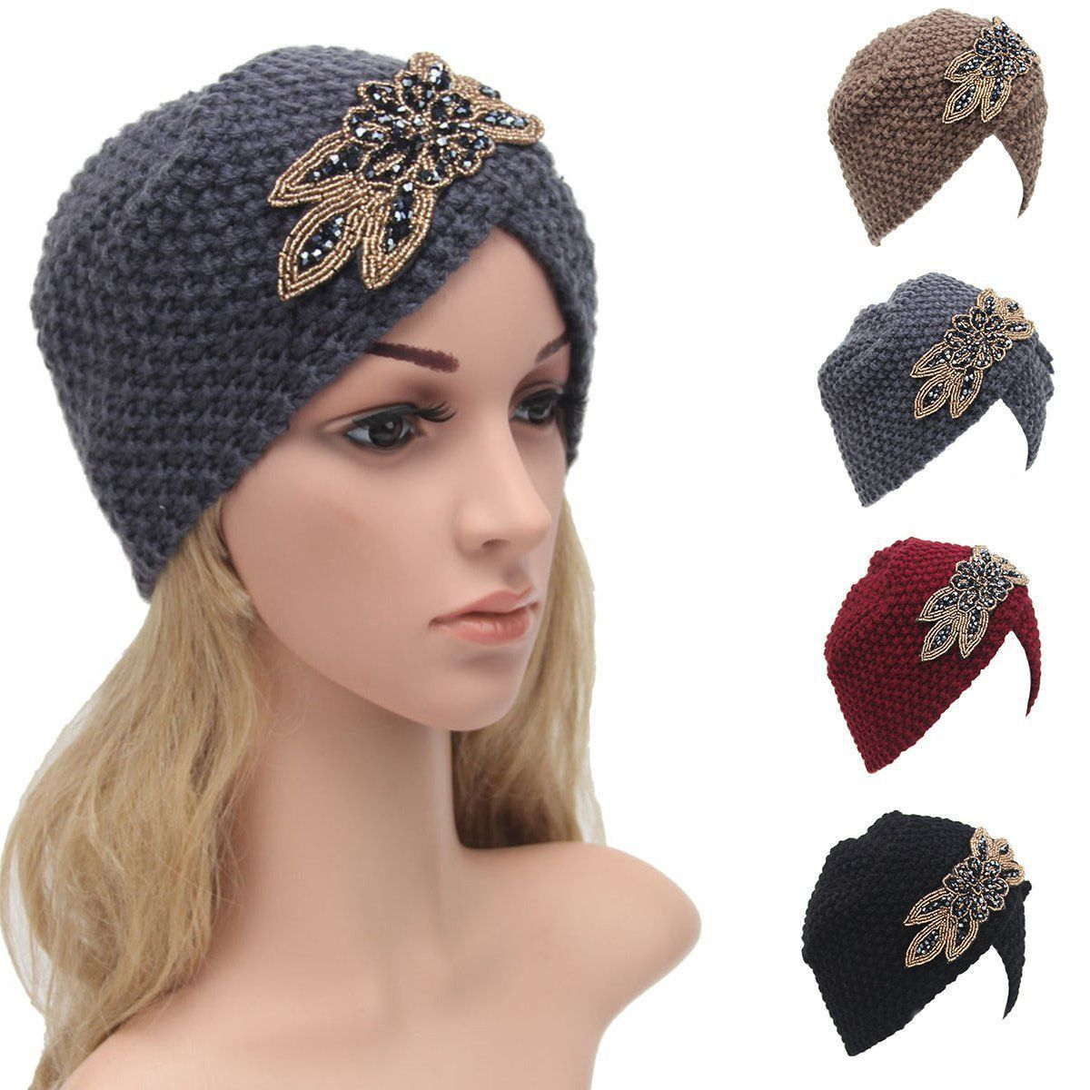 bc78cddc620fc Women Beret Braided Baggy Beanie Crochet Warm Winter Hat Ski Cap Wool Hat  Knit
