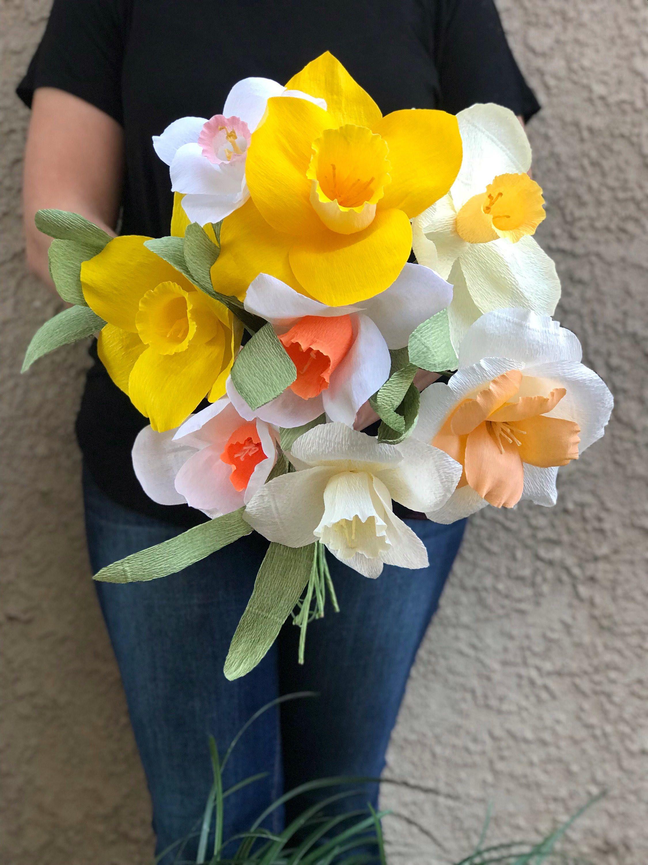 Crepe paper flower bouquet daffodil bouquet paper flower wedding crepe paper flower bouquet daffodil bouquet paper flower wedding bouquet boho flower bouquet izmirmasajfo