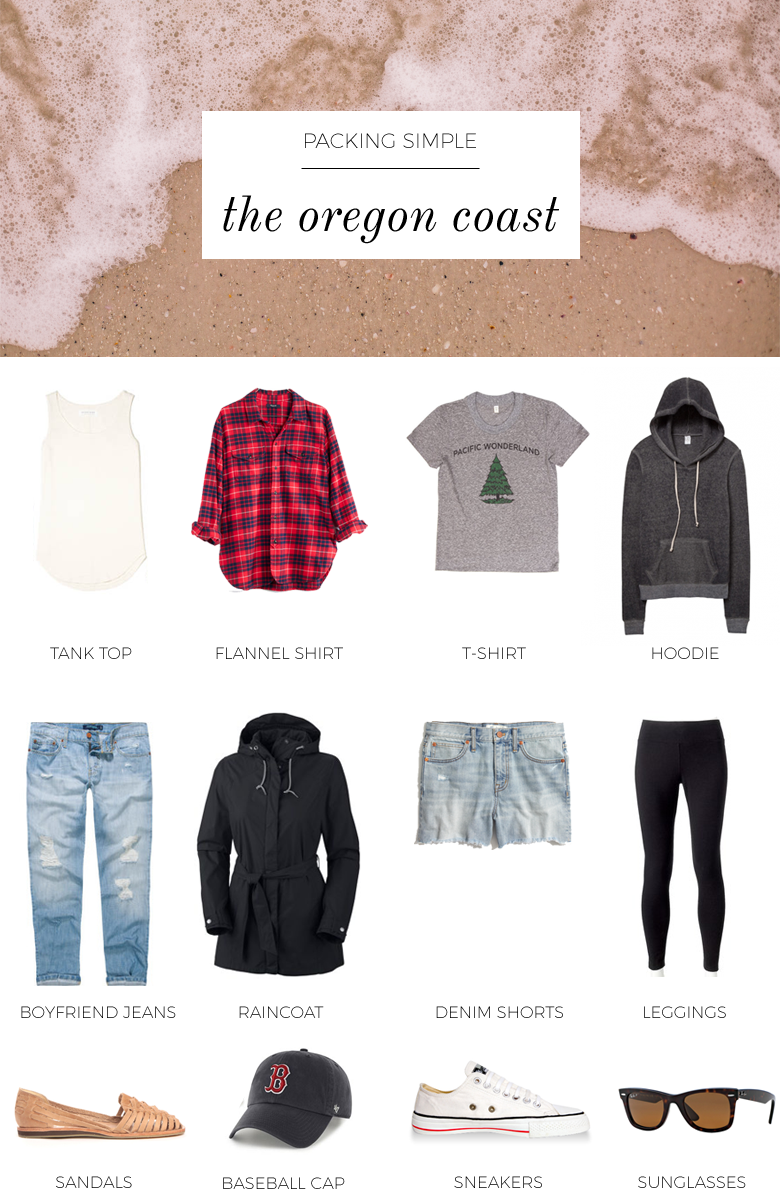 This packing list is inspired by my time at the Oregon coast. For a weekend at the Oregon coast, I suggest packing a few casual, light layers.