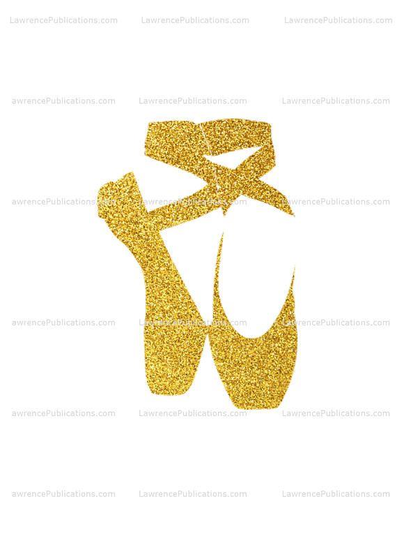 Svg Dxf Png File Ballet Slippers With Gold Glitter Sparkle Ballet Ballerina Balletshoes Enpointe Pointeshoes Da Shoes Clipart Ballet Slippers Etsy Finds