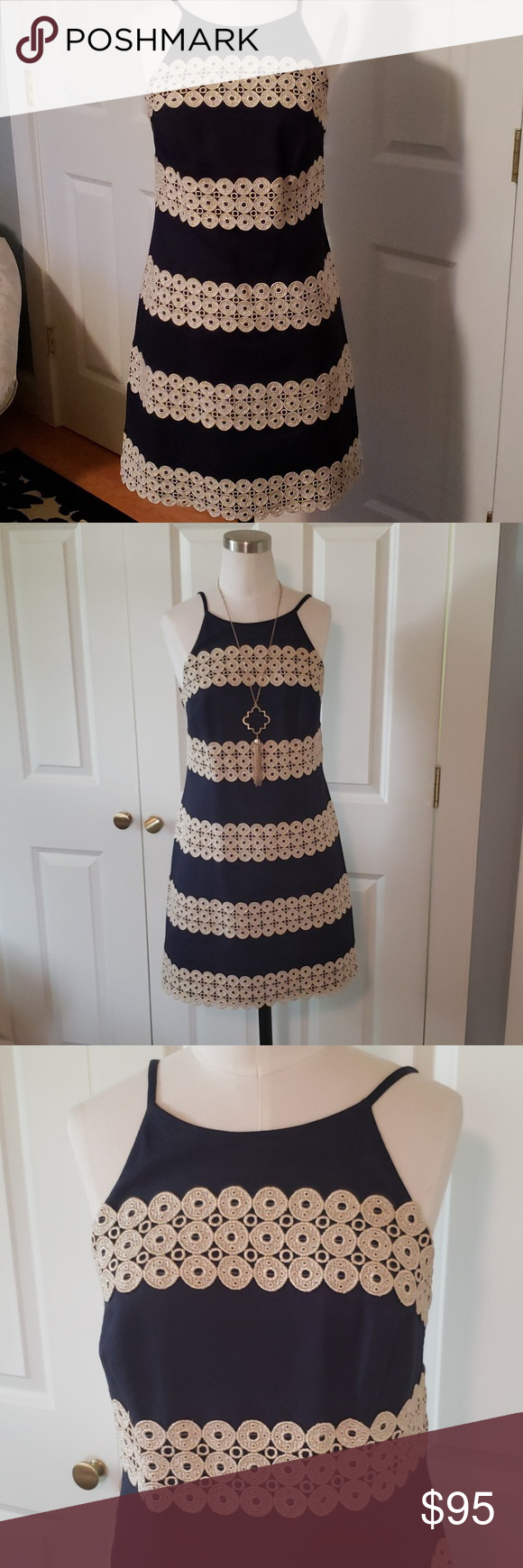 Nwot Lilly Pulitzer Gold Navy Dress Nwot Size 0 Never Worn Navy And Gold The Absolute Perfect Shift Dress Wedding Guest Dress Or Navy Dress Dresses Lillies [ 1740 x 580 Pixel ]