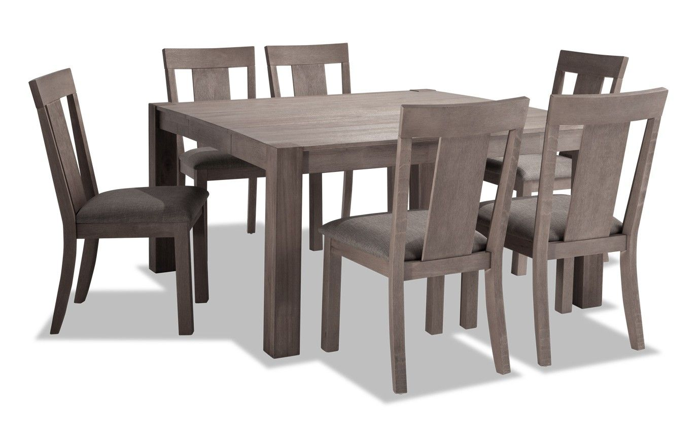 Summit 54 X 54 Gray 7 Piece Dining Set Bobs Com Grey Dining Tables 7 Piece Dining Set Dining Set