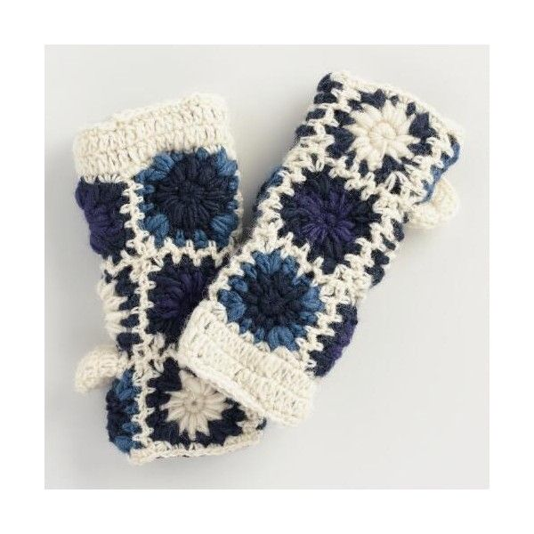 Cost Plus World Market Blue and Ivory Crochet Wool Mittens ($20) ❤ liked on Polyvore featuring accessories, gloves, blue, fleece lined wool gloves, fleece lined mittens, crochet mittens, white winter gloves and fleece lined wool mittens