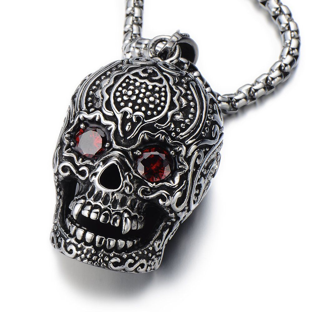 "Stainless Steel Large Sugar Skull Pendant Necklace for Man with Red Cubic Zirconia with 30 in Wheat Chain. Condition: 100% brand new. Metal: Stainless Steel. Finishing: Polished. Dimension: 3.5CM(1.4"")wide x 6.9CM (2.7"")height x 3.8CM (1.52"") thick; Chain length: 75CM (30""). Package: Jewelry Box with Brand Name COOLSTEELANDBEYOND."