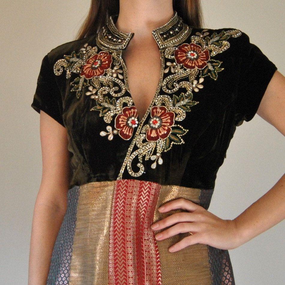 Velvet Embroidered Sari Dress  //  Bohemian Metallic Brocade Jewel Encrusted Cocktail Party Dress  //  Heavy Beaded Sequin Indian Embroidery #saridress