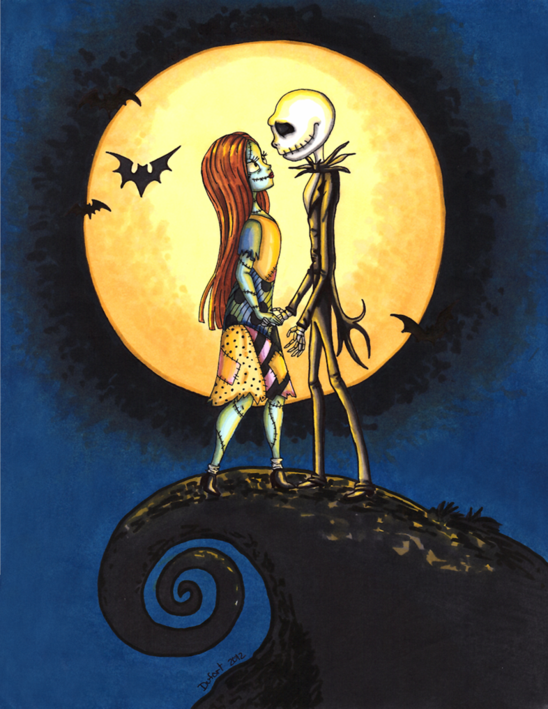 Jack and Sally moonlighting scene from Tim Burton\'s Nightmare before ...