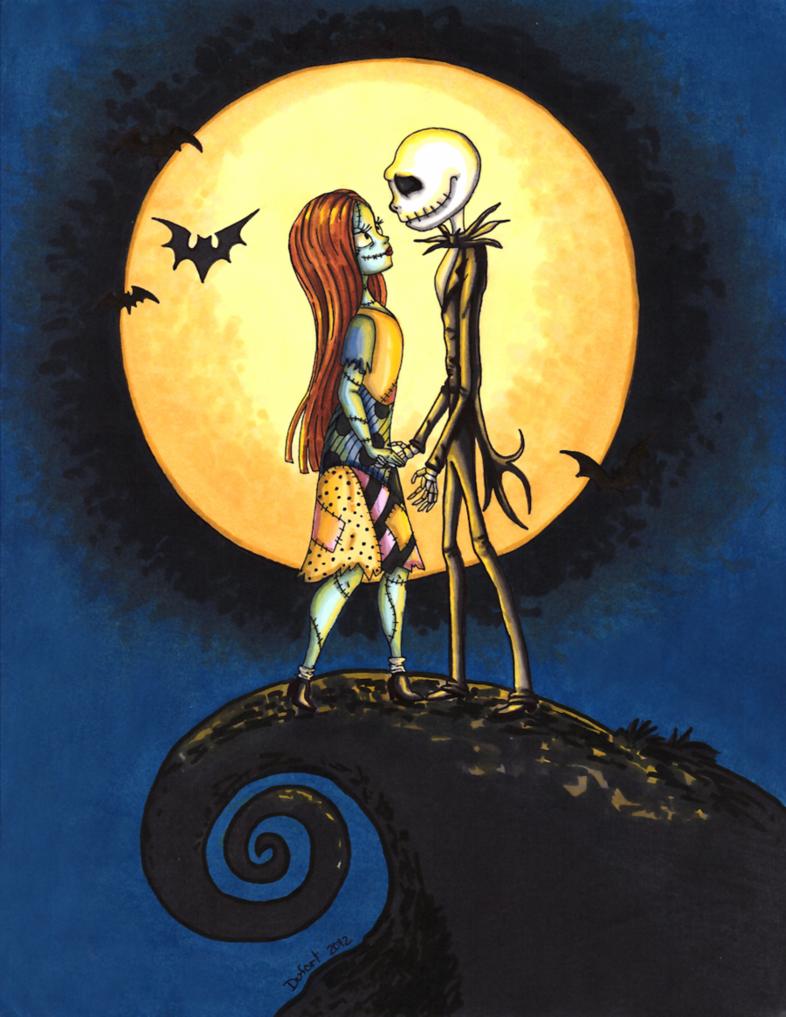 Jack and Sally moonlighting scene from Tim Burton\'s Nightmare before ...
