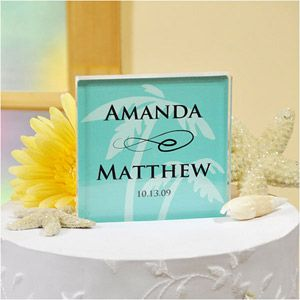 WeddingDepot.com ~ Acrylic Beach Wedding Cake Topper ~ Available in 13 of today's hottest wedding colors and personalized just for you, this custom cake top is a great symbol of your eternal love and impeccable taste!